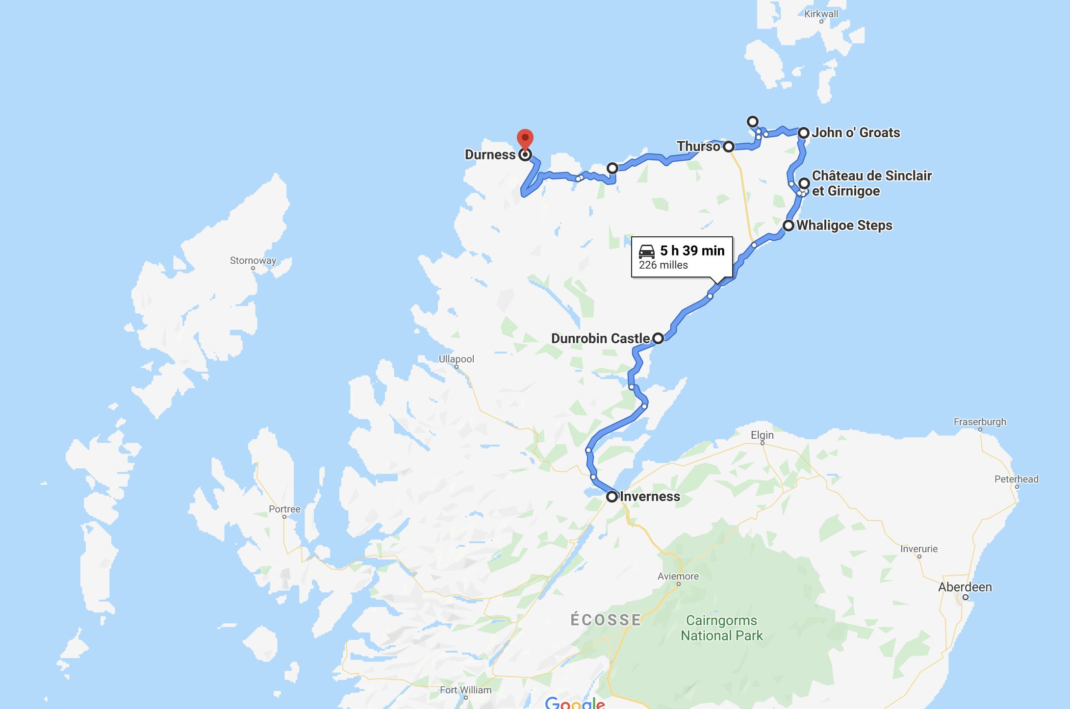 Tracé Google de mon trajet dans l'est et dans le nord des Highlands.