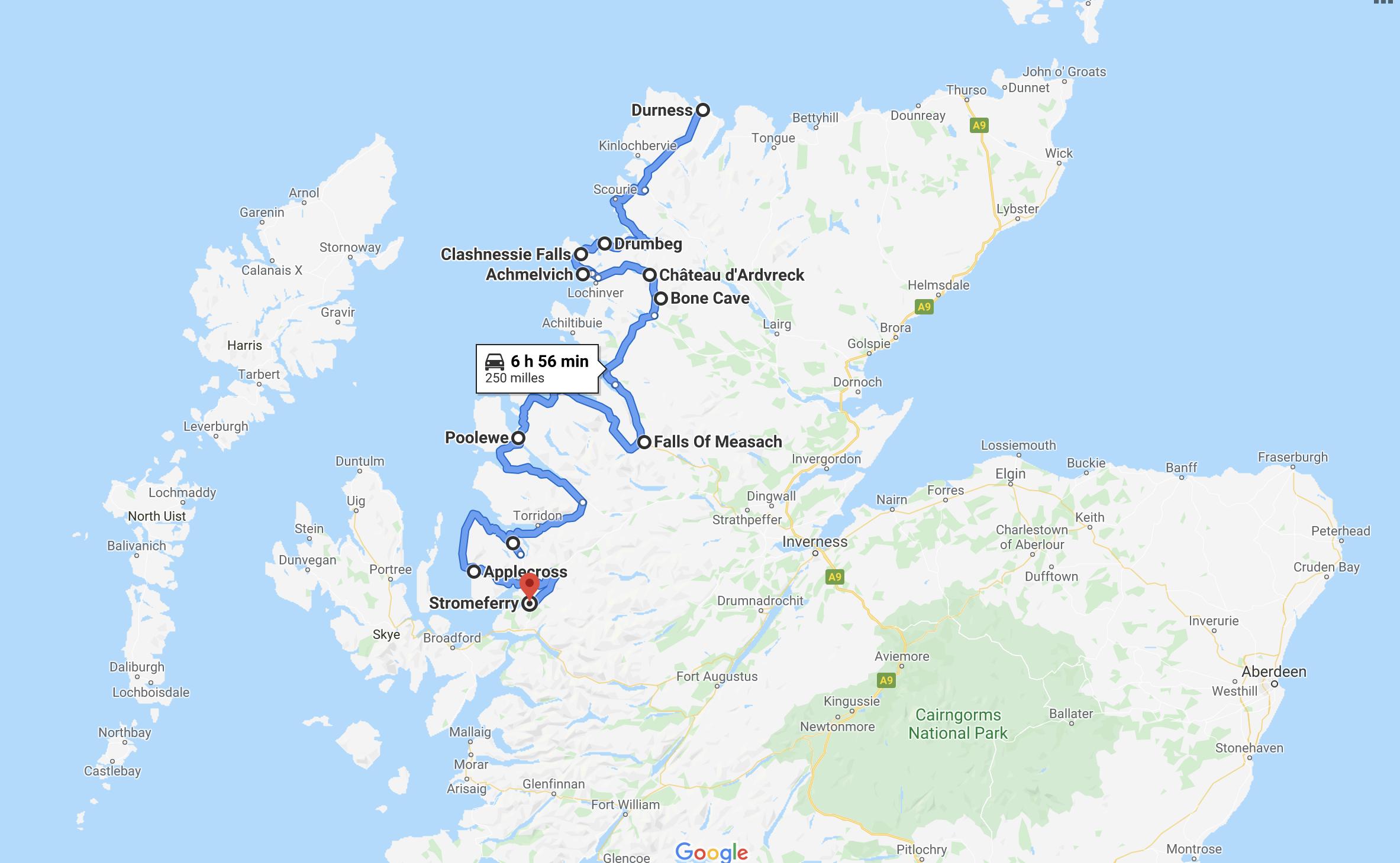 Tracé Google de mon trajet dans l'ouest des Highlands.